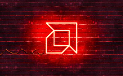 AMD red logo, 4k, red brickwall, AMD logo, brands, AMD neon logo, AMD