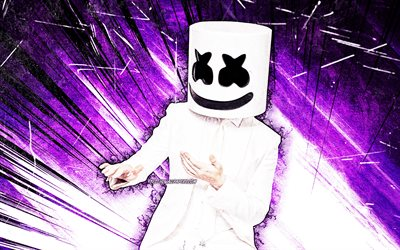 4k, DJ Marshmello, violet abstract rays, music stars, Christopher Comstock, american DJ, grunge art, creative, Marshmello 4K, superstars, Marshmello, DJs