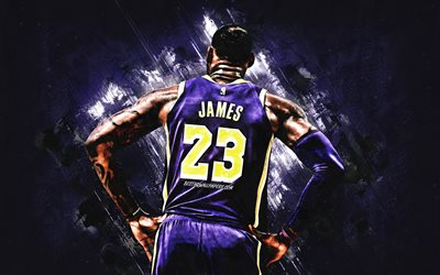 LeBron James, Los Angeles Lakers, American basketball player, the NBA, USA, purple stone background, basketball