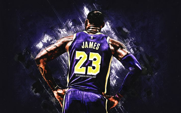 lebron james, los angeles lakers, us-amerikanischer basketballspieler, nba, usa, lila stein hintergrund, basketball