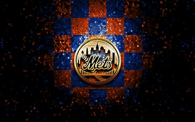 New York Mets, glitter logo, MLB, blue orange checkered background, USA, american baseball team, New York Mets logo, mosaic art, baseball, America, NY Mets