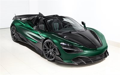 TopCar, McLaren 720S Spider Fury, 2020, hypercar, front view, green roadster, tuning McLaren 720S, new green 720S Spider, British sports cars, McLaren