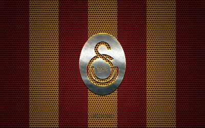 Galatasaray logo, Turkish football club, metal emblem, burgundy yellow metal mesh background, Super Lig, Galatasaray, Turkish Super League, Istanbul, Turkey, football