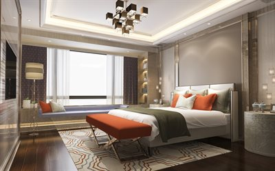 stylish bedroom interior design, classic style, modern design, square chandelier, retro style, bedroom