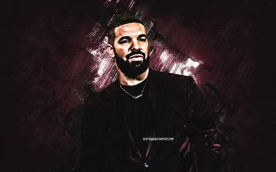 Drake, canadian singer, portrait, burgundy stone background, creative art, popular singers, Aubrey Drake Graham