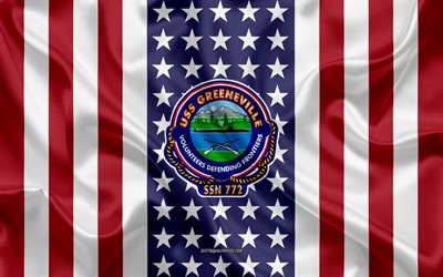 USS Greeneville Emblem, SSN-772, American Flag, US Navy, USA, USS Greeneville Badge, US warship, Emblem of the USS Greeneville
