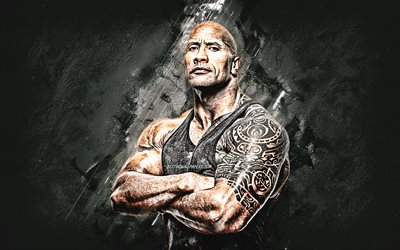 Dwayne Johnson, The Rock, american actor, american wrestler, portrait, creative art, gray stone background