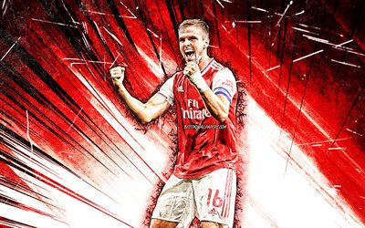4K, Rob Holding, grunge art, Arsenal FC, anglais footballeurs, rouge, abstrait rayons, Robert Samuel Holding, football, Premier League, le football, Les Gunners, Rob Holding Arsenal, Rob Holding 4K