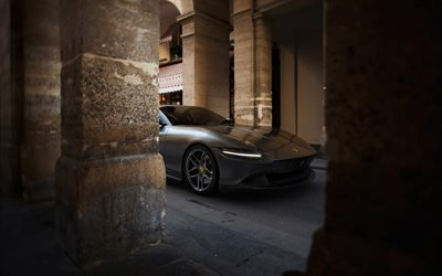 Ferrari Roma, 2020, front view, gray sports coupe, new gray Roma, italian supercars, Ferrari