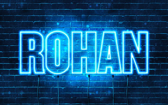 Download Wallpapers Rohan 4k Wallpapers With Names Horizontal Text Rohan Name Blue Neon Lights Picture With Rohan Name For Desktop Free Pictures For Desktop Free