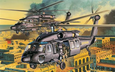 Sikorsky UH-60 Black Hawk, artwork, combat aircraft, UH-60 Black Hawk, attack helicopters, US Army, Sikorsky
