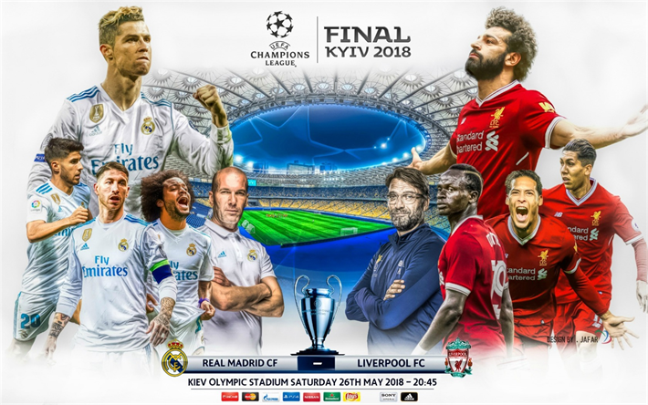 UEFA Champions League, Final 2018, Real Madrid, Liverpool FC, Jafar art, designed by Jafar, fan art, football, final, Cristiano Ronaldo, Mohamed Salah, Sergio Ramos, Marcelo, Zinedine Zidane