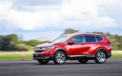 Honda CR-V Sport, 4k, carretera, 2018 coches, rojo CR-V, crossovers, Honda