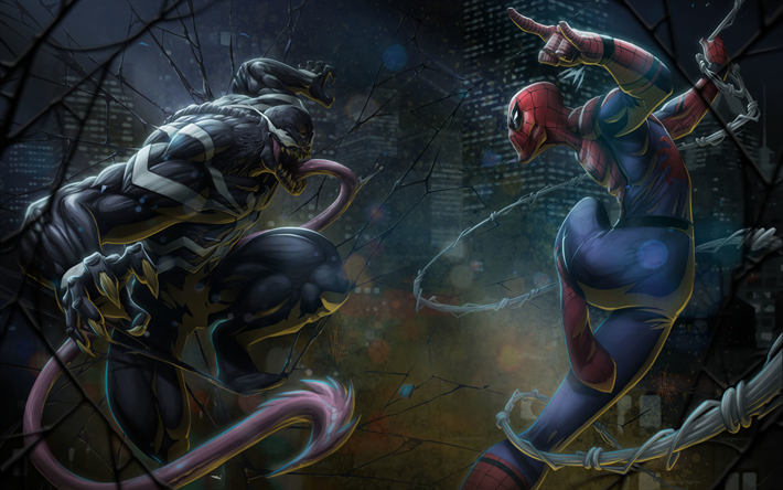 Venom vs Spiderman, 4k, 3D art, superheroes, darkness, DC Comics,