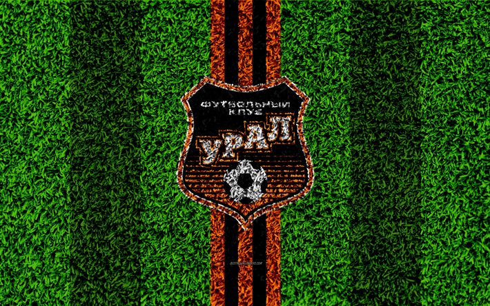 Download Wallpapers FC Ural Yekaterinburg, 4k, Logo, Grass