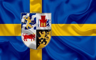 Download Wallpapers Coat Of Arms Of Vastra Gotaland Lan 4k Silk Flag Swedish Flag Vastra Gotaland County Sweden Flags Of The Swedish Province Silk Texture Vastra Gotaland Lan Coat Of Arms For