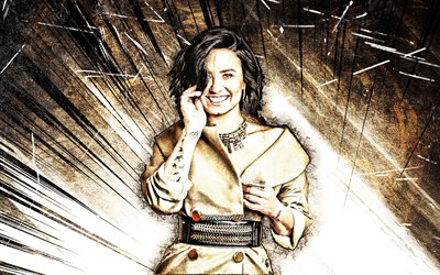 4k, Demi Lovato, 2020, american celebrity, movie stars, smile, beauty, Madelaine Grobbelaar Petsch, grunge art, fan art, brown abstract rays, american actress, superstars, Demi Lovato 4K
