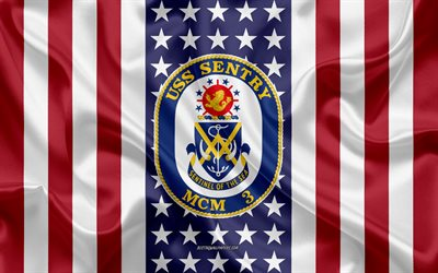 USS Sentry Emblem, MCM-3, American Flag, US Navy, USA, USS Sentry Badge, US warship, Emblem of the USS Sentry