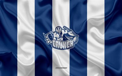 Syracuse Crunch, American Hockey Club, emblem, silk flag, blue and white silk texture, AHL, Syracuse Crunch logo, Syracuse, New York, USA, hockey, American Hockey League