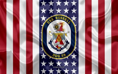 USS Russell Emblem, DDG-59, American Flag, US Navy, USA, USS Russell Badge, US warship, Emblem of the USS Russell