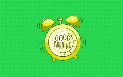 4k, Good Morning, yellow alarm clock, green dotted backgrounds, good morning wish, creative, good morning concepts, minimalism, good morning with clock