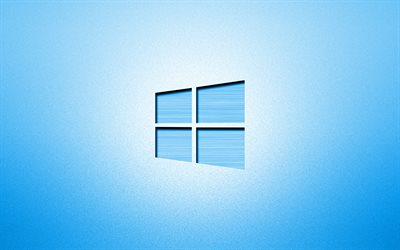 4k, Windows 10 blue logo, creative, blue backgrounds, minimalism, operating systems, Windows 10 logo, artwork, Windows 10