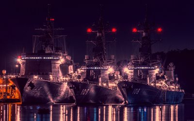 4k, USS Wayne E Meyer, USS Jason Dunham, DDG-109, DDG-108, destroyer, United States Navy, US army, battleship, US Navy, Arleigh Burke-class, port