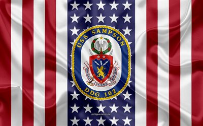 USS Sampson Emblem, DDG-102, American Flag, US Navy, USA, USS Sampson Badge, US warship, Emblem of the USS Sampson