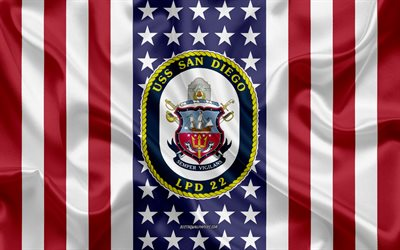 USS San Diego Emblem, LPD-22, American Flag, US Navy, USA, USS San Diego Badge, US warship, Emblem of the USS San Diego