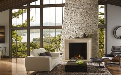 white stone fireplace, living room, stylish interior design, country house, modern interior design