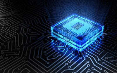 blue 3D chip, 4k, technology concepts, 3D art, microchip, motherboard, chip, digital technology, circuit board
