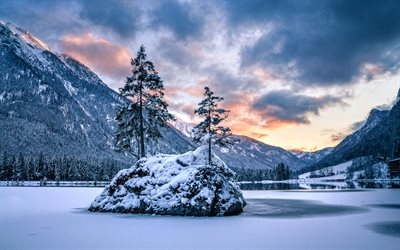 Hintersee Lake, Alps, winter, Berchtesgaden National Park, Bavaria, beautiful nature, Germany, Europe