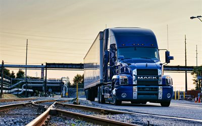 Mack Anthem, railway, 2020 trucks, cargo transport, 2020 Mack Anthem Stand Up Day Cab, blue truck, LKW, Mack Trucks