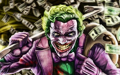 Joker with dollars, 3D art, supervillain, fan art, money, artwork, Joker