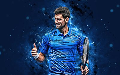4k, novak djokovic, blaue uniform, atp, serbische tennis-spieler, blue neon lights, tennis, fan-kunst, novak djokovic 4k