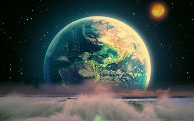 Earth, sea waves, 3D art, Solar System, galaxy, artwork, sci-fi, stars, universe, NASA, planets