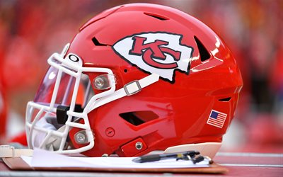 kansas city chiefs helm für american football, nfl, kansas city chiefs logo, american football, usa-flagge, national football league, usa