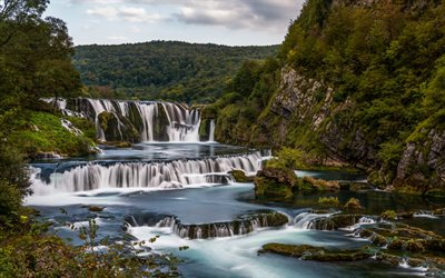 Strbacki Buk Waterfalls, Una River, waterfall, forest, mountain river, green trees, Bosnia and Herzegovina, Una National park