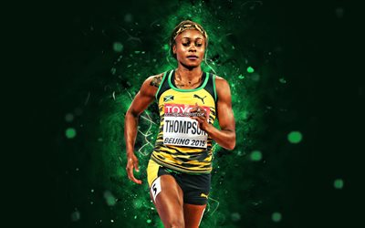 Elaine Thompson Herah, 4k, yellow neon lights, jamaican former sprinter, athlete, Elaine Thompson, athletics, creative, Elaine Thompson Herah 4K