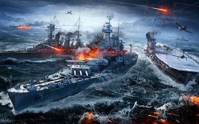 World of Warships, 4k, ships, WoWS