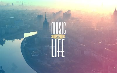 quotes, Music is My LIfe, cityscapes, minimal