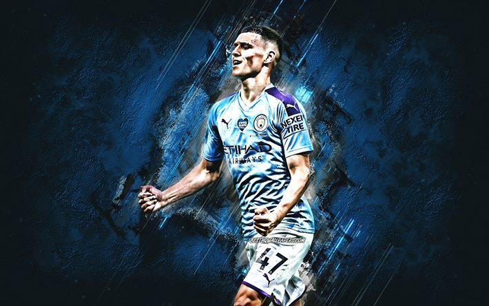 Download wallpapers Phil Foden, Manchester City FC, english footballer,  midfielder, portrait, blue stone background, football for desktop free.  Pictures for desktop free