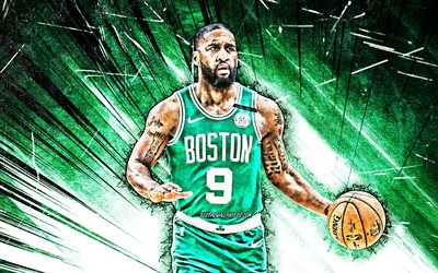 4k, Brad Wanamaker, grunge art, Boston Celtics, NBA, basketball, green abstract rays, Bradley Daniel Wanamaker, USA, Brad Wanamaker Boston Celtics, creative, Brad Wanamaker 4K