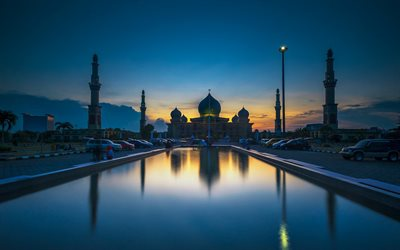 Pekanbaru, Masjid Ar-Rahman, mosque, evening, sunset, landmark, Indonesia