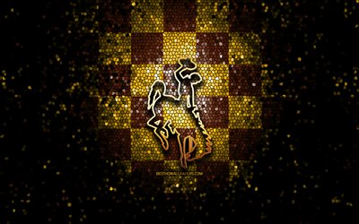 Wyoming Cowboys, glitter logo, NCAA, brown yellow checkered background, USA, american football team, Wyoming Cowboys logo, mosaic art, american football, America