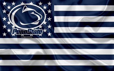 Penn State Nittany Lions, American football team, creative American flag, blue white flag, NCAA, University Park, Pennsylvania, USA, Penn State Nittany Lions logo, emblem, silk flag, American football