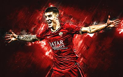 Gianluca Mancini, Italian footballer, AS Roma, Serie A, italian football player, portrait, red stone background, football