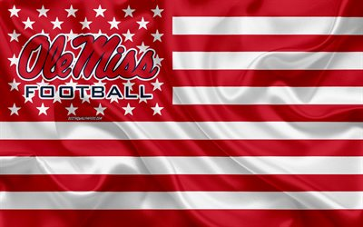 Ole Miss Rebels, American football team, creative American flag, red white flag, NCAA, Oxford, Mississippi, USA, Ole Miss Rebels logo, emblem, silk flag, American football