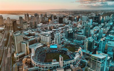 Petco Park, San Diego, baseball park, San Diego Padres, MLB, evening, sunset, skyscrapers, San Diego cityscape, California, USA, baseball stadium