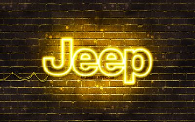 Jeep yellow logo, 4k, yellow brickwall, Jeep logo, cars brands, Jeep neon logo, Jeep